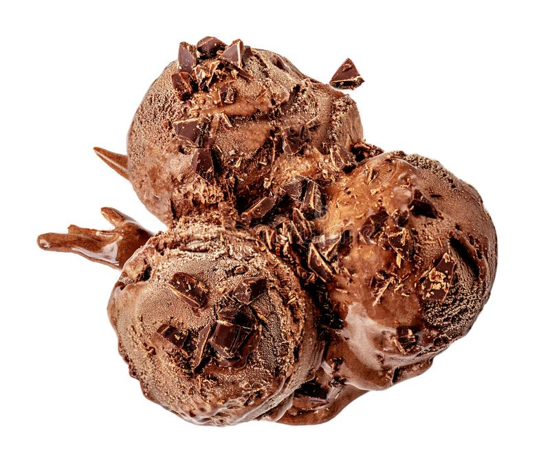 Chocolate ice cream balls  with chocolate shavings  on white background. Top view royalty free stock images