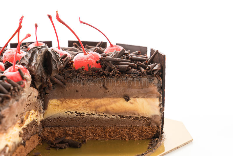 Chocolate ice-cream cake. On white background stock photo