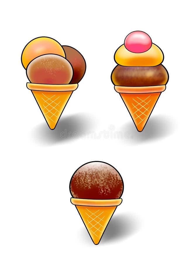 Chocolate Ice Cream, clip art. Digital Illustration. Different tasty, vanilla, chocolate, cherry strawberry, ice-cream in cone. Colorful details of Ice Cream vector illustration