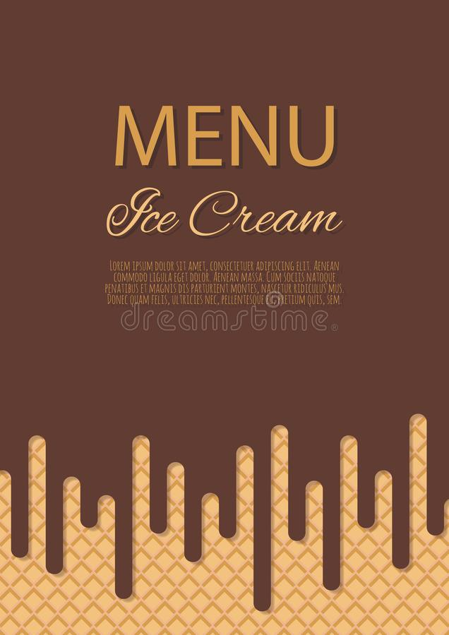 Chocolate ice cream flowing over waffle texture background . Cafe menu, ice cream dessert poster, food packaging design. Chocolate ice cream flowing over waffle royalty free illustration