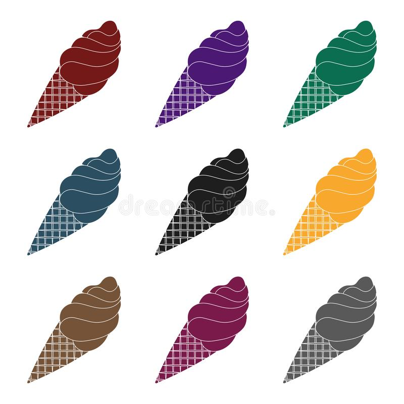 Chocolate ice-cream icon in black style isolated on white background. Chocolate desserts symbol stock vector. Chocolate ice-cream icon in black design isolated stock illustration