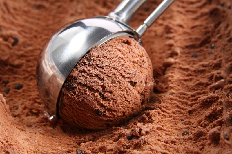 Chocolate ice cream scoop stock photo