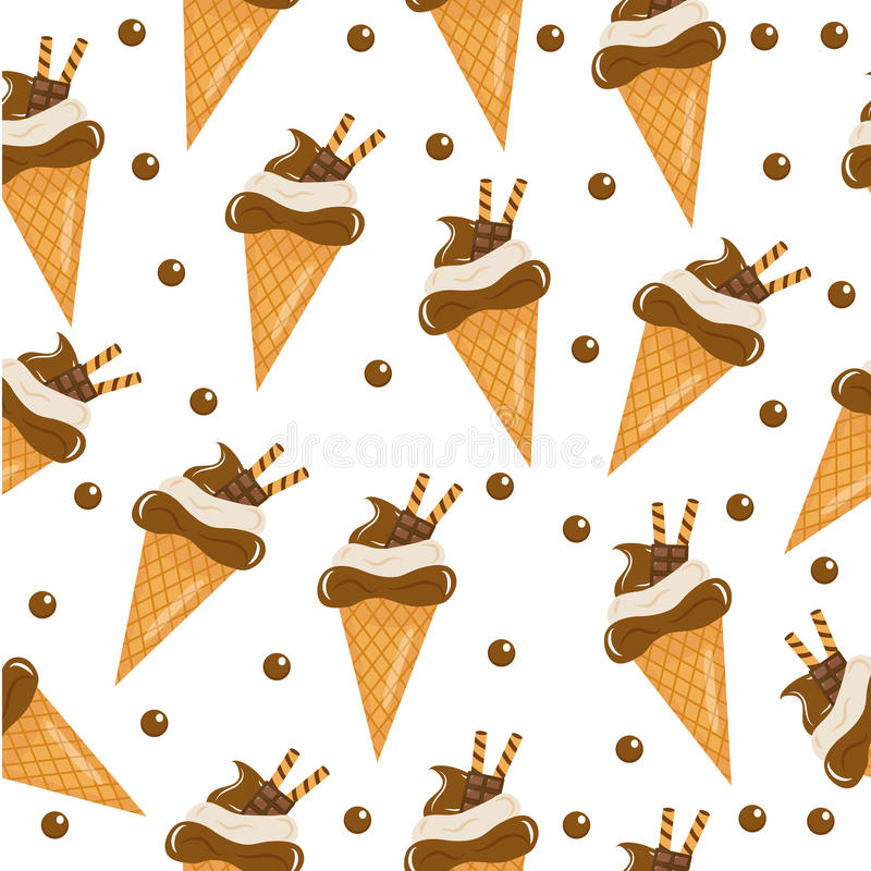 Chocolate ice cream seamless texture. ice cream cone background. Baby, Kids wallpaper and textiles. Vector illustration; vector illustration