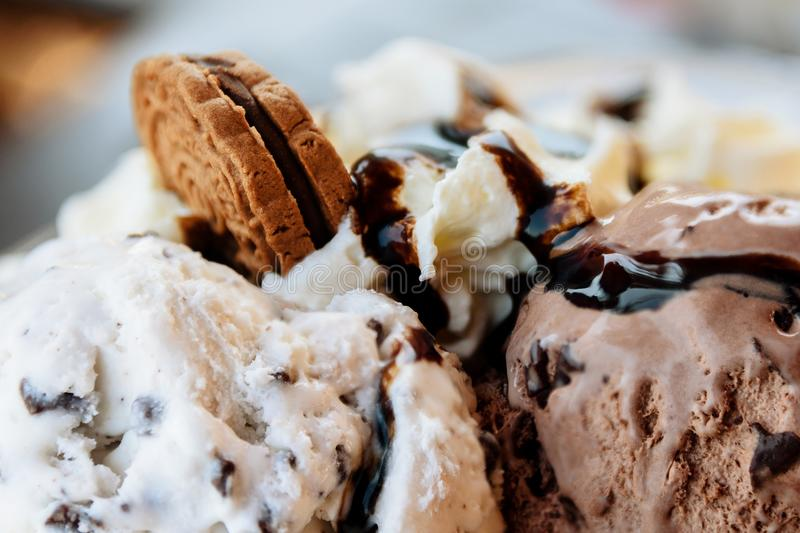 Chocolate Ice Cream Sundae With Sauce And Cookie Close-Up royalty free stock photography