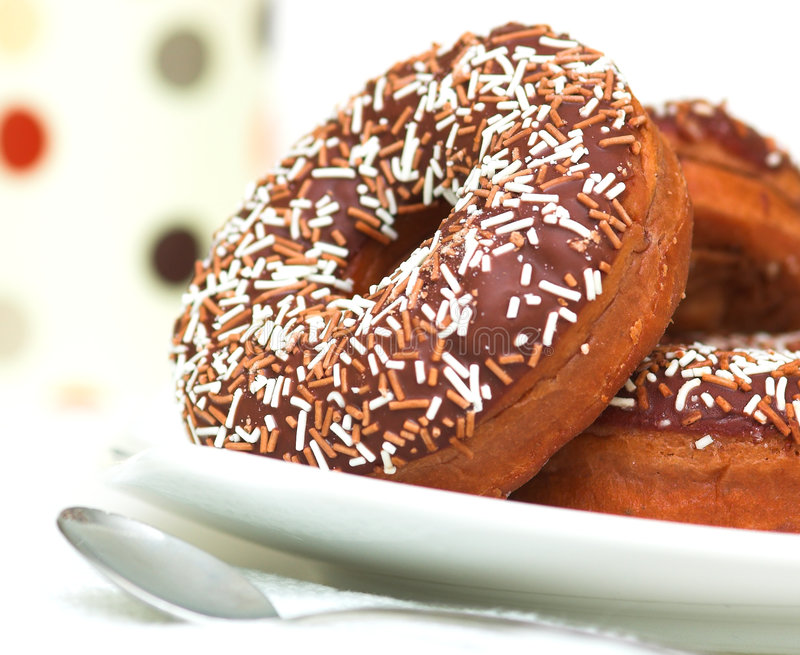 Chocolate Iced Ring Doughnuts Stock Image