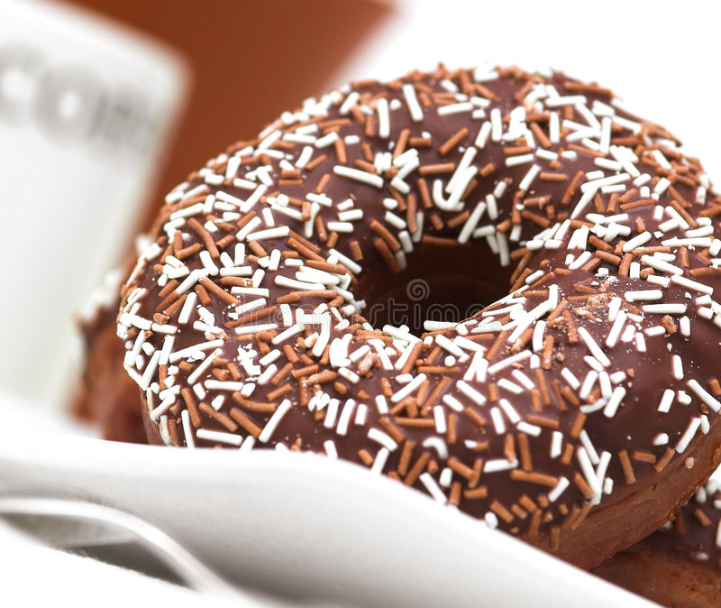 Chocolate Iced Ring Doughnuts Stock Images