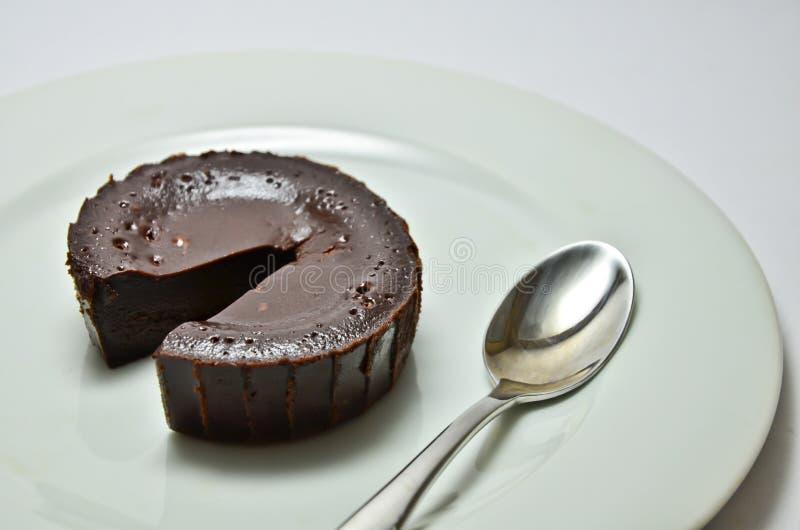Chocolate lava cake. Chocolate fondant with strawberry chocolate, cake, lava stock photo
