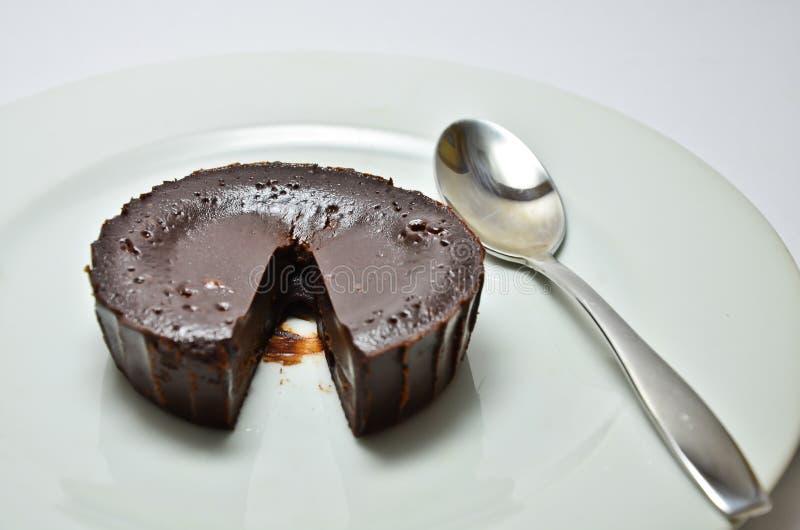 Chocolate lava cake. Chocolate fondant with strawberry chocolate, cake, lava royalty free stock photo