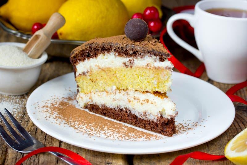 Chocolate lemon semolina cake , homemade layer cake with semolina citrus cream. Delicious dessert royalty free stock image