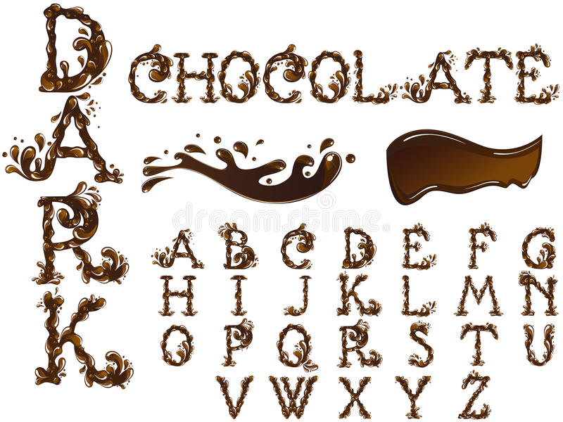 Chocolate letters font stock illustration
