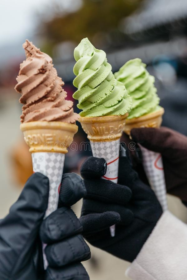 Chocolate and lime ice cream soft serve in cones in Noboribetsu Date JIdaimura Historic Village at Hokkaido, Japan royalty free stock image