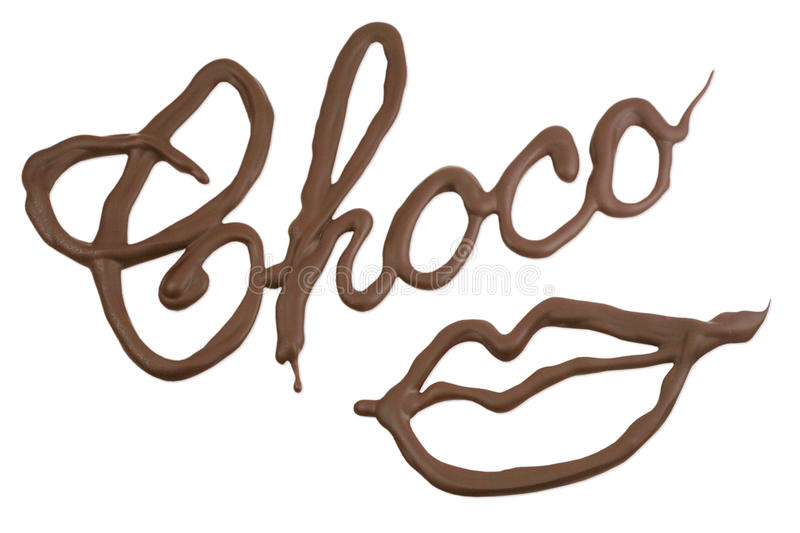 Chocolate lips. Written with melted choco syrup royalty free stock image