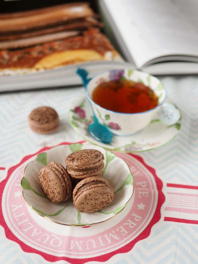 Chocolate macaron royalty free stock photography