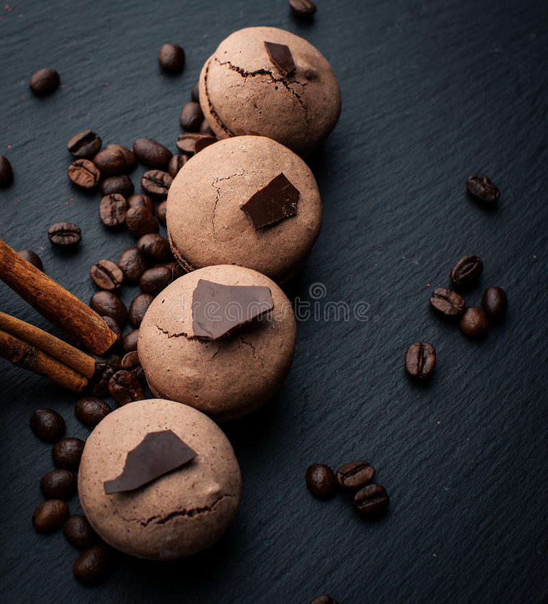 Chocolate macarons royalty free stock images