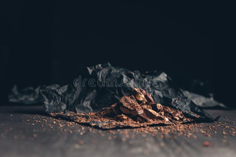 Chocolate machacado y destrozado fotografía de archivo libre de regalías
