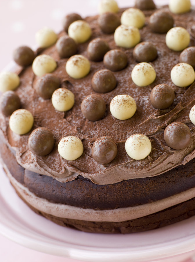 Chocolate Malteser Cake royalty free stock image
