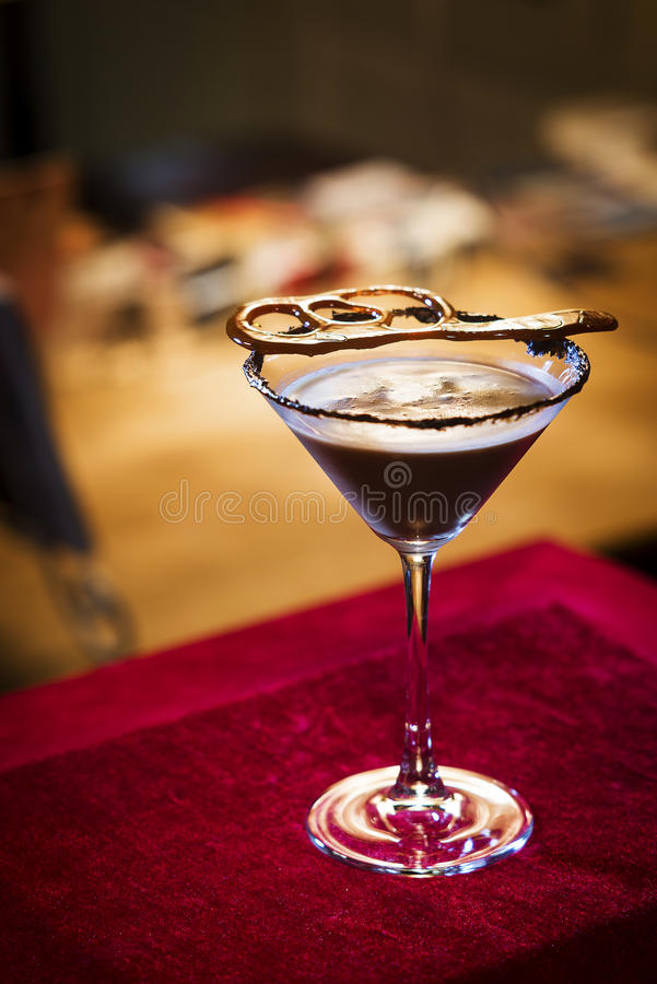 Chocolate Martini cocktail in trendy bar. Chocolate Martini cocktail drink in trendy bar stock image