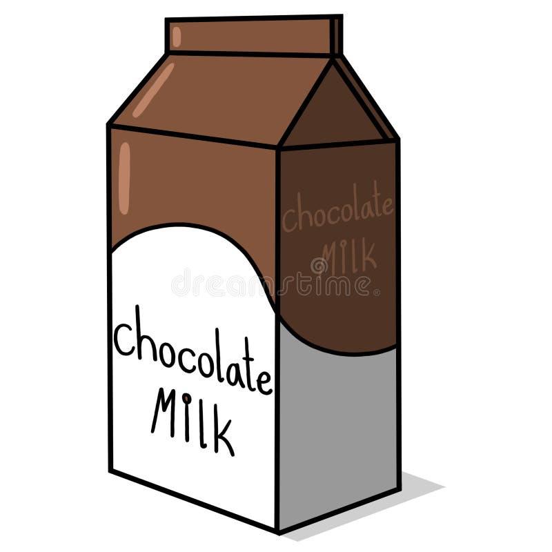 Chocolate milk carton illustration on white background stock illustration