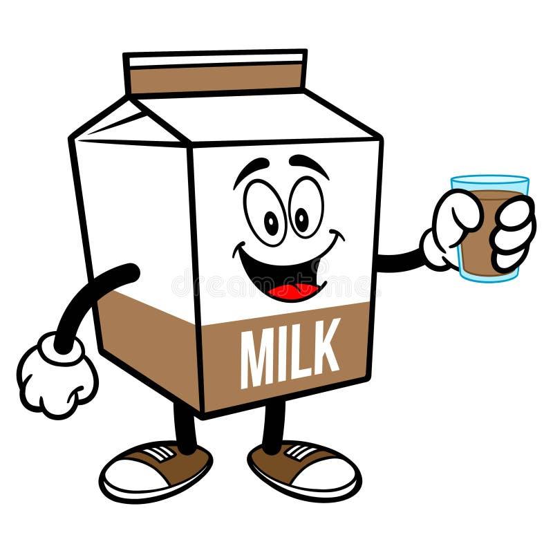 Chocolate Milk Carton Mascot with a Glass of Chocolate Milk stock illustration
