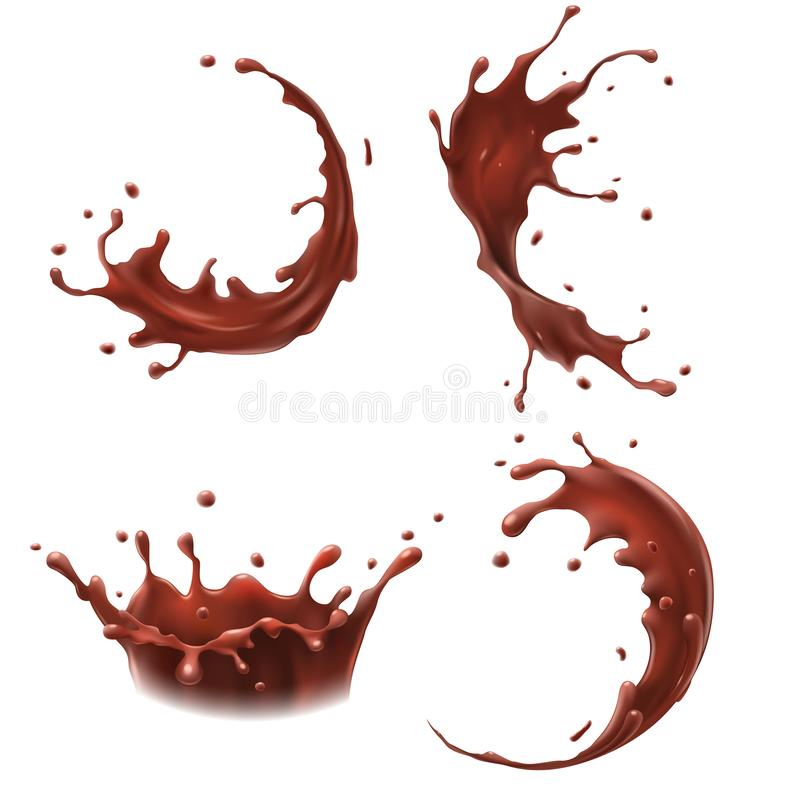 Chocolate milk splash. Milkshake splashes drop, tasty chocolates milks shakes splashing realistic vector set vector illustration