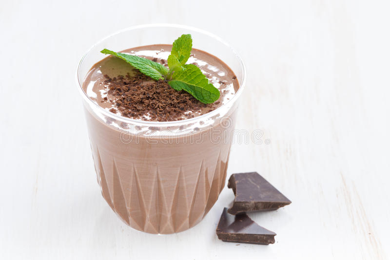 Chocolate milkshake with mint in a glass on white background royalty free stock photography