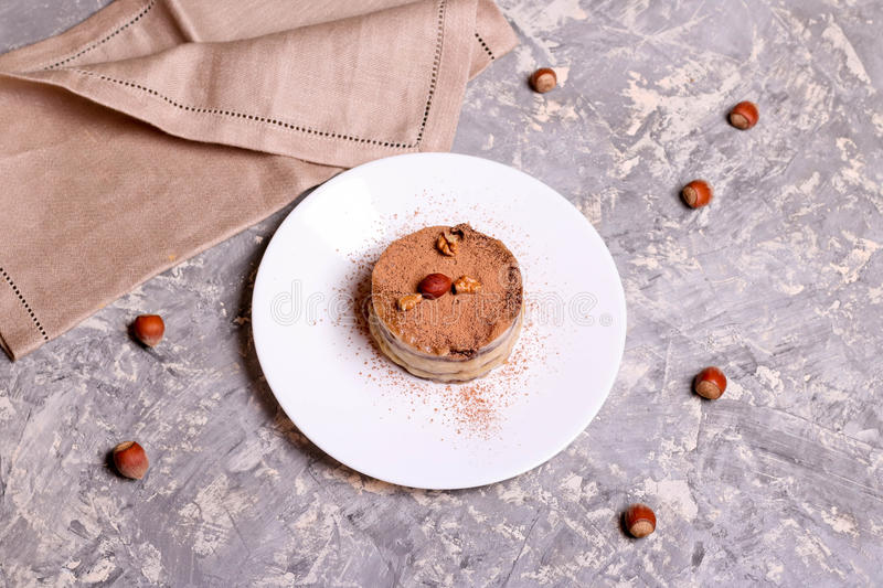 Download Chocolate Mini Cake On A Plate With Nuts Stock Photo - Image of cream & Chocolate Mini Cake On A Plate With Nuts Stock Photo - Image of ...