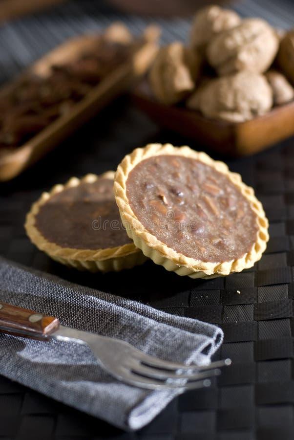 Chocolate mini tart stock photos