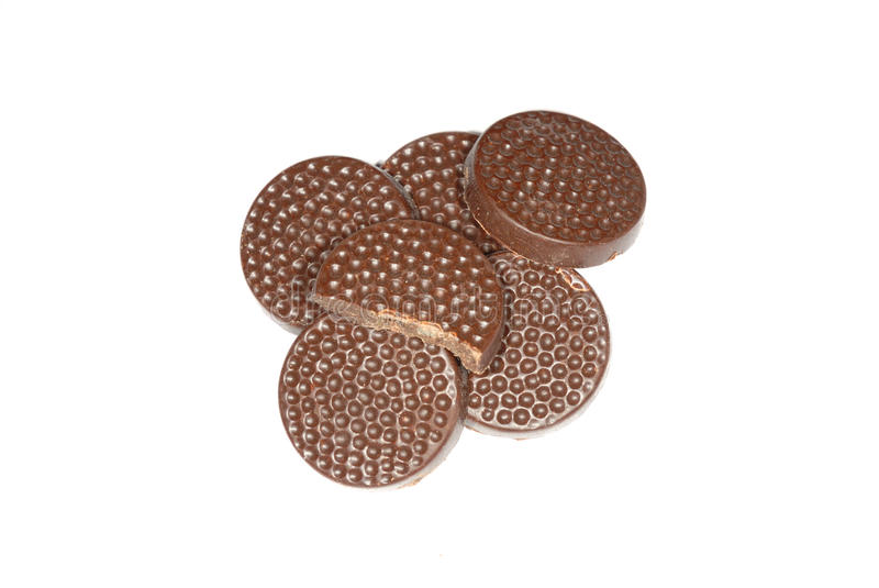 Chocolate mints isolated. Photograph showing chocolate mins isolated against white stock photos