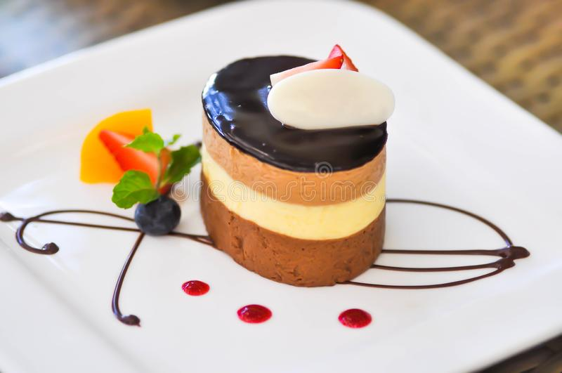 Chocolate mousse or chocolate mousse cake royalty free stock photos