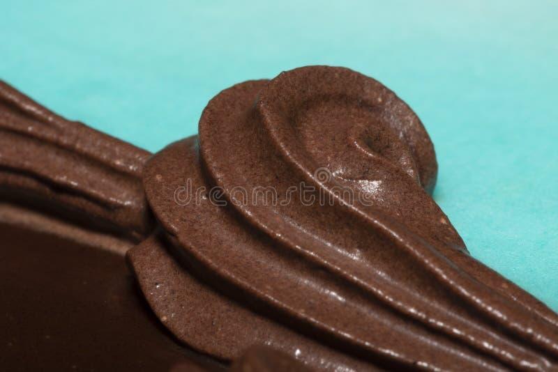 Chocolate mousse decor on birthday cake one stock photography