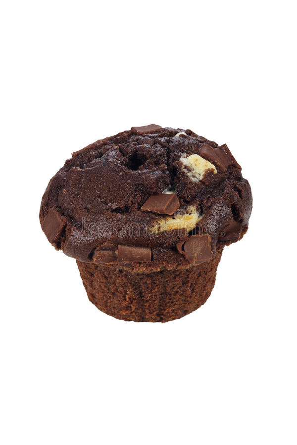 Chocolate muffin. Chocolate muffin on white background royalty free stock photography