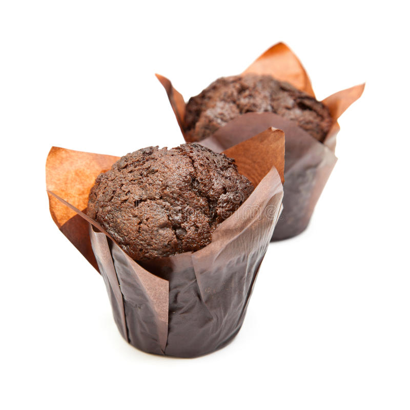 Chocolate muffin. Isolated on white background royalty free stock photography