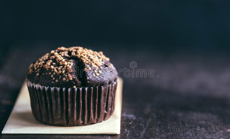 Chocolate muffin with caramel stock photo