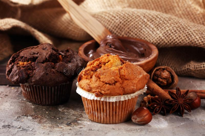 Chocolate muffin and nut muffin, homemade bakery on grey background stock image