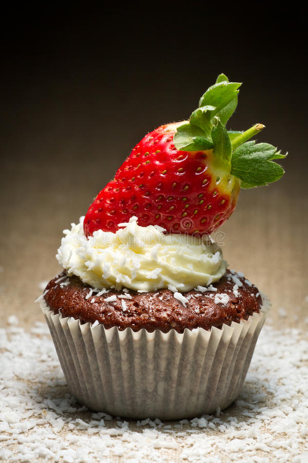 Chocolate muffin with strawberry stock photography