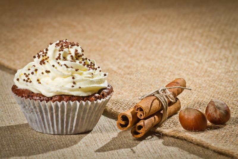 Chocolate muffin with vanilla cream, cinnamon royalty free stock photography