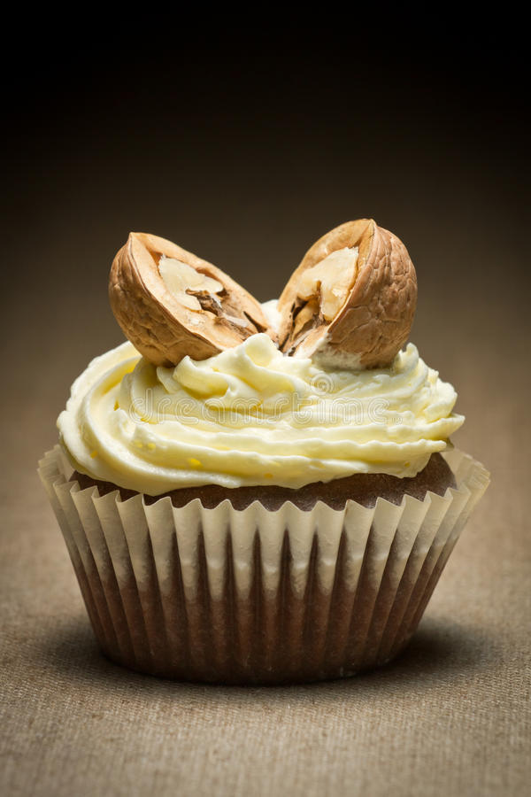 Chocolate muffin and vanilla cream with walnut royalty free stock images