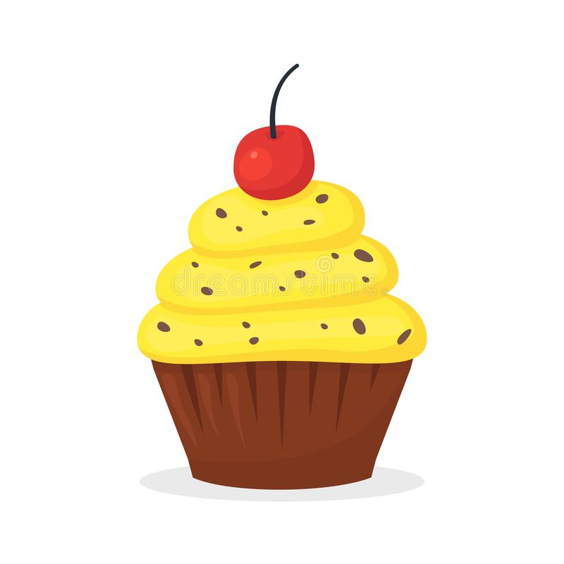 Chocolate muffin with yellow cream and cherry on the top. Sweet food, cupcake with frosting flat vector icon vector illustration
