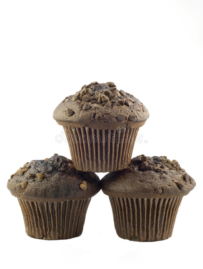 Chocolate Muffins Isolated On White Backgground Stock Image