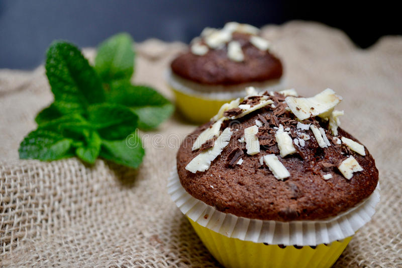 Chocolate Muffins on a Rustic Burlap Sack. stock images
