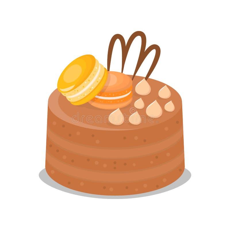Chocolate Multi Layer Cake Vector Illustration stock illustration