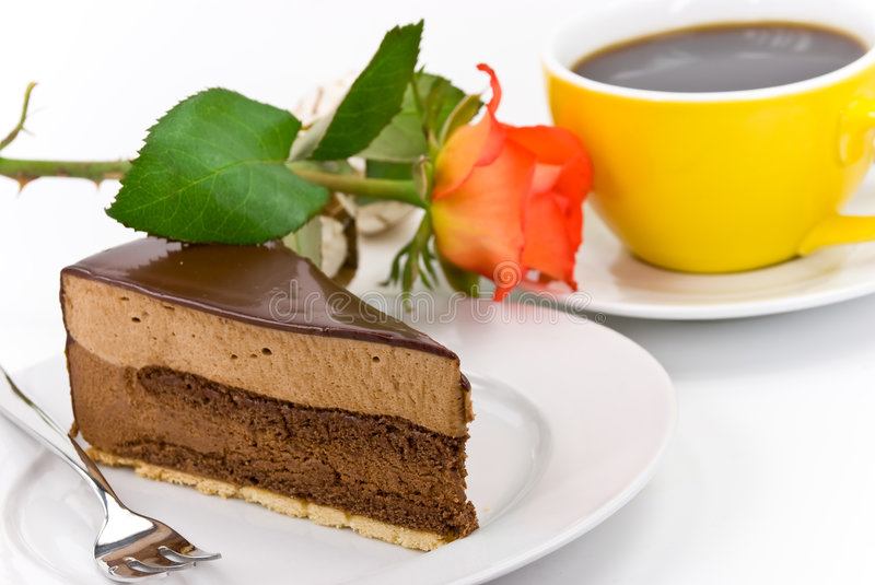 Chocolate- Nougat Pie with red rose and Coffee royalty free stock photo