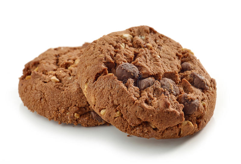 Chocolate and nut cookies. On white background royalty free stock photo