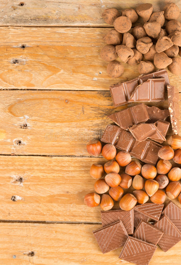 Chocolate and nuts stock photography