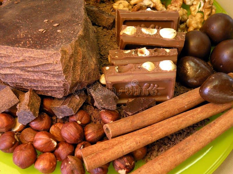 Chocolate , nuts and cinnamon stock photo