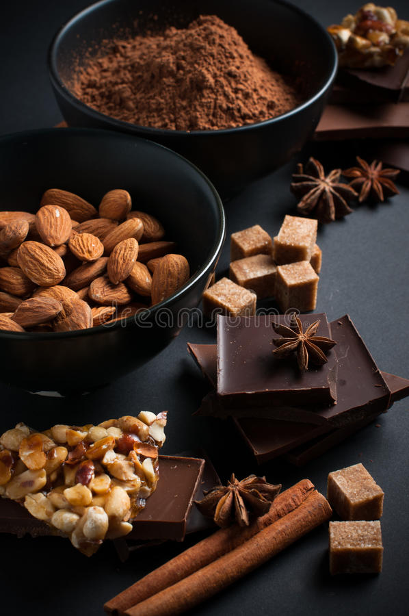 Chocolate, nuts, sweets, spices and brown sugar