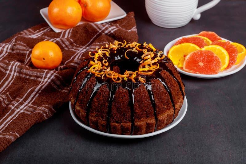 Chocolate orange pound cake with chocolate glaze royalty free stock photos