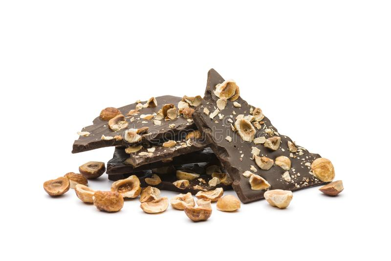 Chocolate oscuro de la avellana imagenes de archivo