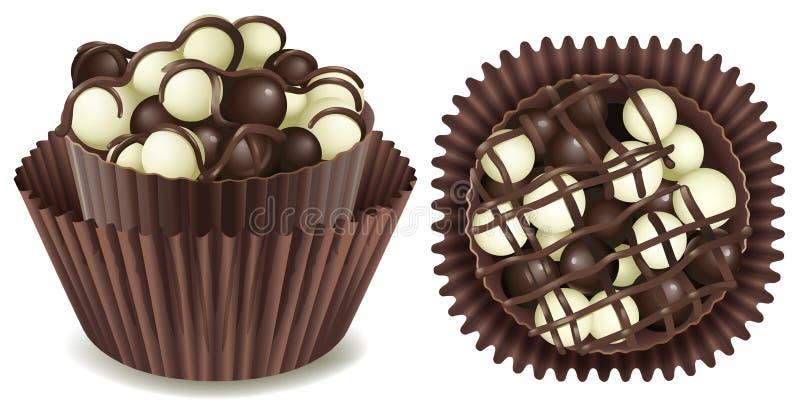 Chocolate oscuro y blanco en taza libre illustration