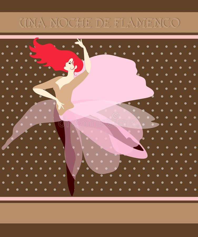 Chocolate packaging design. Red-haired ballerina dancing the national dance of Spain. Flamenco night Spanish inscription royalty free illustration